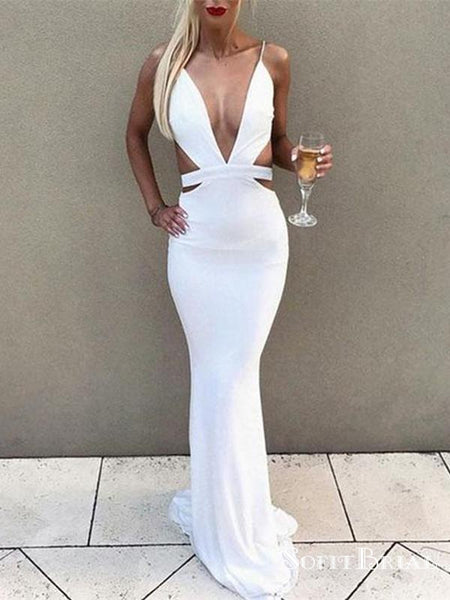 Sexy Deep V-neck White Long Cheap Mermaid Prom Dresses, TYP0058