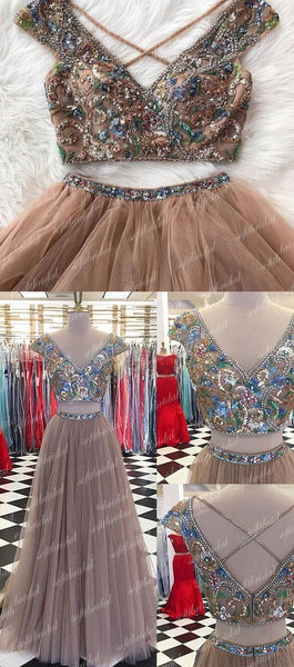 2 pieces Beaded Cross Back Tulle Prom Dresses, New Arrival Prom Dress, Cheap Prom Dresses, PD0358 - SofitBridal