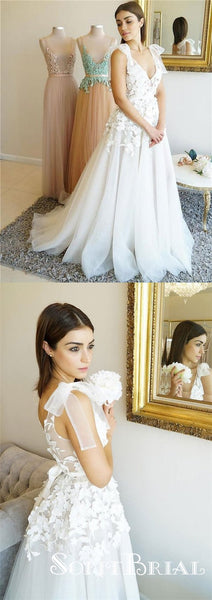 Charming White V-neck Long A-line Lace Tulle Prom Dresses, TYP0051