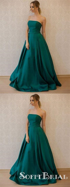 Simple Fashion Strapless Emerald Green A line Long Evening Prom Dresses, TYP0160