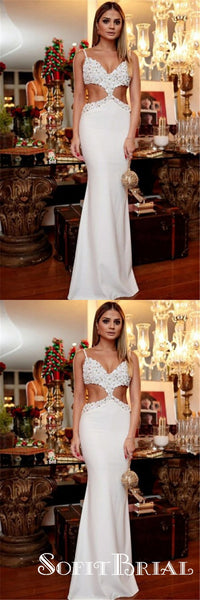 Mermaid Spaghetti Straps Long Cut Out White Beaded Prom Dresses with Appliques, TYP0042