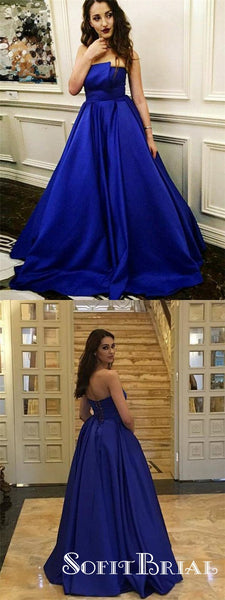 A Line Strapless Royal Blue Satin Long Cheap Prom Dresses, TYP0218