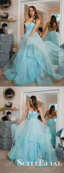 A-Line Blue Tulle Spaghetti Straps Backless Prom Dresses, TYP0181