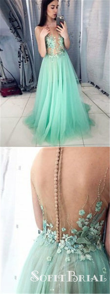 A Line Round Neck Covered Button Mint Tulle Lace Long Prom Dresses, TYP0113