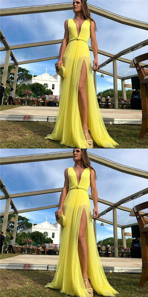 Simple A-Line Deep V-Neck Long Yellow Prom Party Dress with Split, TYP0002