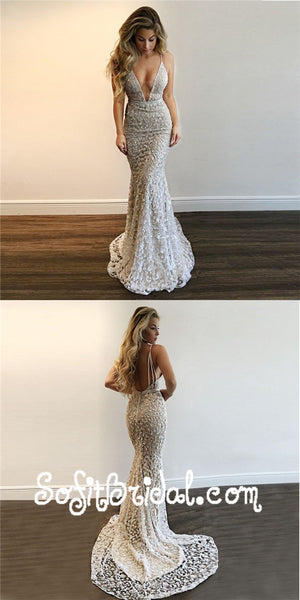 Mermaid Deep V-Neck Long Silver Lace Prom Dresses with Sequins, TYP0006