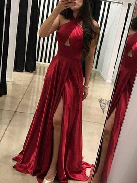 Simple Red Halter Long Side Slit Satin Prom Dresses, PD0395