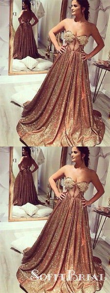 Sparkly A Line Sweetheart Open Back Gold Sequins Long Prom Dresses with Lace, TYP0115