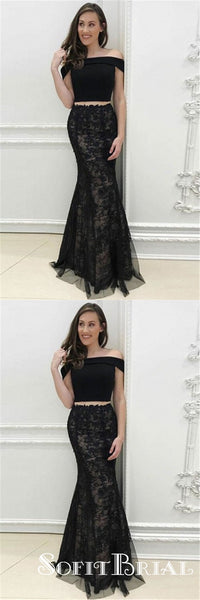 edbe5ea3021 Two Piece Off-Shoulder Long Cheap Black Tulle Prom Dresses with Appliques
