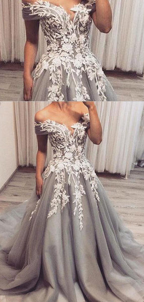 Off Shoulder Grey Tulle Gorgeous Lace Prom Dresses, PD0389