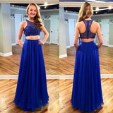 Two Pieces Royal Blue Sparkle Beaded Long A-line Lace Chiffon Prom Dresses, PD0280 - SofitBridal