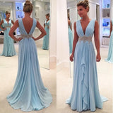 Deep V-Neck Long A-line Light Blue Chiffon Beaded Belt Simple Prom Bridesmaid Dresses, PD0278 - SofitBridal