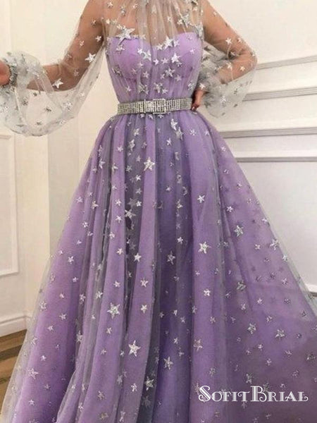 Long Sleeve A-line Sparkly Star Lace Lilac Long Prom Dresses, TYP0070