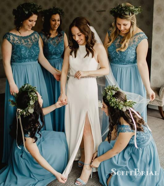 2019 Chic Crew Sleeveless A Line Simple Long Bridesmaid Dresses With Applique, TYP0197