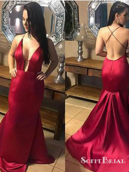 Spaghetti Cross Back Sexy Deep V-back Mermaid Red Prom Dresses, Newest Prom Dresses, PD0337