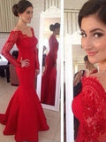 Red Lace Off Shoulder Long Sleeve Mermaid Soft Satin Long Prom Dresses, PD0285