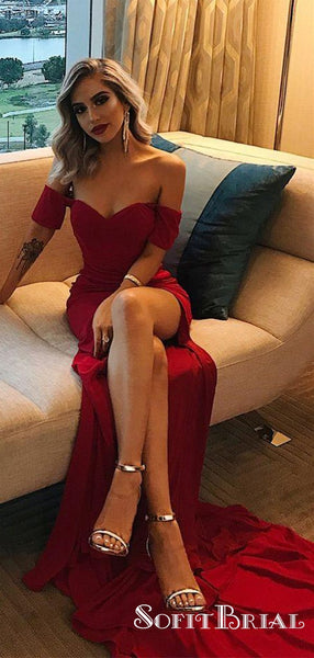 Mermaid Off-the-Shoulder Long Cheap Burgundy Prom Dresses, TYP0067