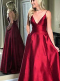 Simple Design Spaghetti Red Satin Prom Dresses, A-line Elegant Prom Dresses, Prom Dresses, PD0365