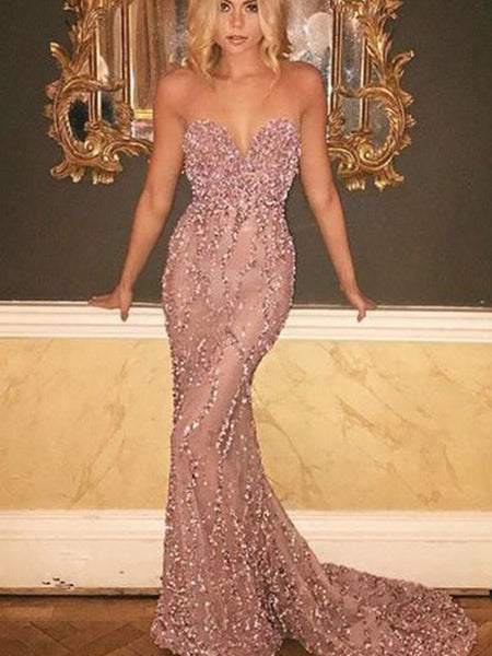 Sweetheart Rose Sequin Beaded Long Mermaid Sexy See Through Cheap Prom Dresses, PD0307