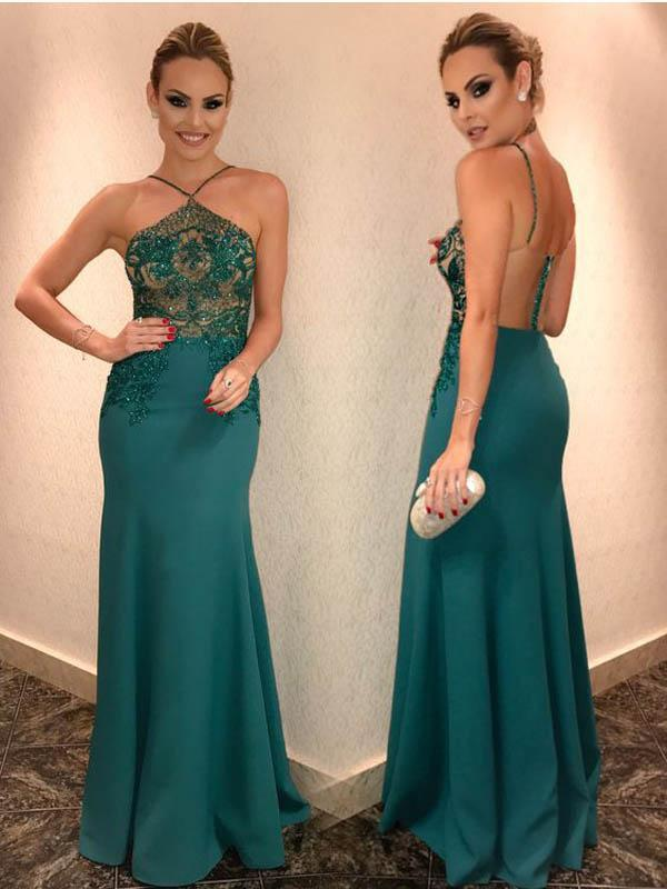 Sexy Emerald Beaded Mermaid Long Prom Dresses, PD0386
