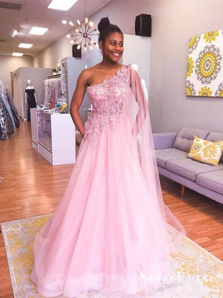 ea2ece1d80f Charming One Shoulder Pink Tulle Long Cheap Prom Dresses With Applique