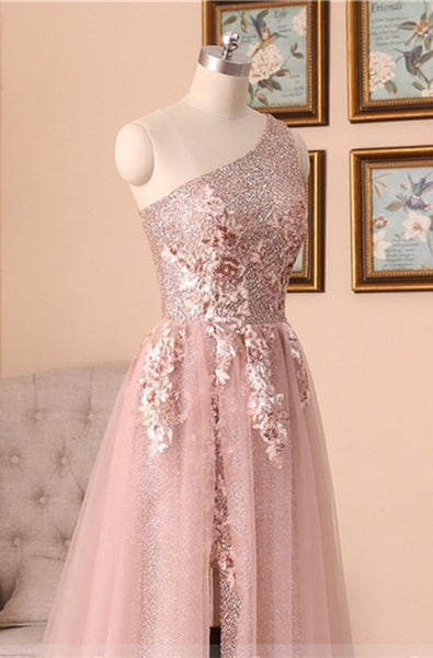 Pink One Shoulder Tulle Long Cheap Prom Dresses With Beaded, TYP0132