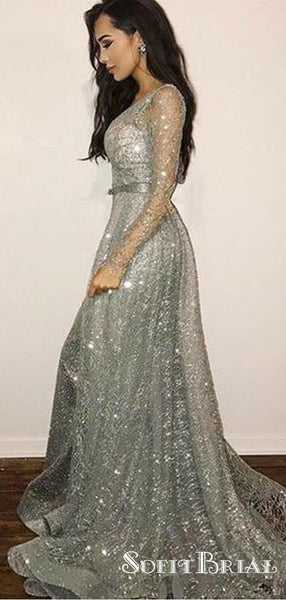 Sparkle Long Sleeves Silver Sequin Tulle Long Prom Dresses, TYP0061