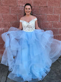 2 Pieces Off Shoulder Lace Prom Dresses, Light Blue Tulle Prom Dresses, Prom Dresses, PD0347