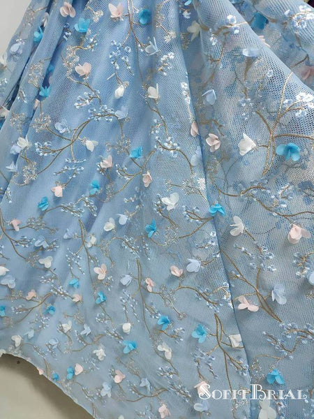 Princess Spaghetti Strap 3D Flower Applique Sky Blue Prom Dresses, TYP0134