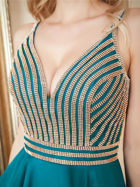 V-neck Beaded Sexy Dress, Open-back Short Chiffon Homecoming Dress, EME132