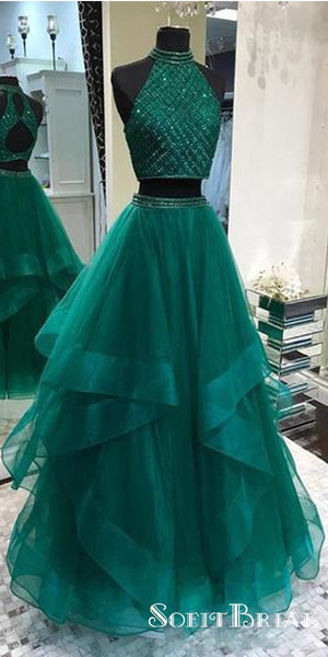 Sexy Two Pieces Emerald Green Open Back Evening Prom Dresses, TYP0185