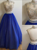 Two Pieces Rhinestone Beaded Top Long A-line Blue Tulle Prom Dresses, PD0279