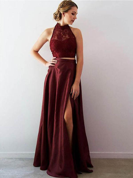 2 Pieces Long A-line Side Slit Lace Top Halter Prom Dresses, PD0379