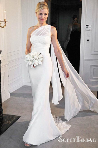 One Shoulder Chiffon Mermaid Bridal Gown, Long Wedding Dresses, TYP0252