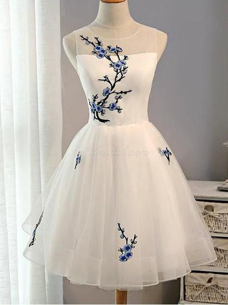 Yarn Embroidery Ball Dresses, White Tulle Short Homecoming Dresses, SEME204