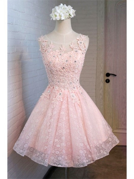 Pink Applique Tulle Homecoming Dresses, A-line Sequin Short Homecoming Dresses, SEME200