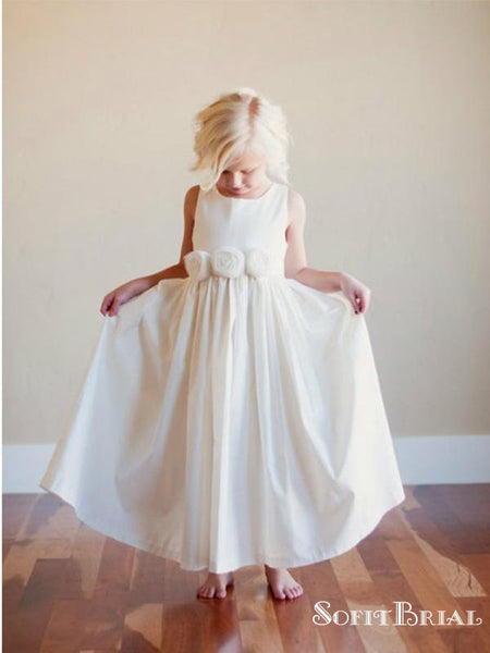 A-Line Scoop Neck White Floor Length Flower Girl Dresses with Flower, TYP0270