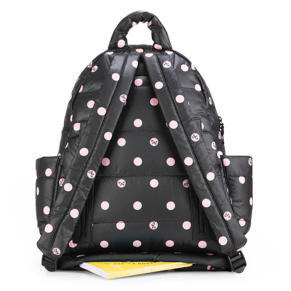 Backpack Baby Diaper Bag - Black with Pink Polka Dot L