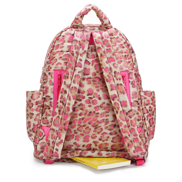 Backpack Baby Diaper Bag - Caramel Pink Leopard L
