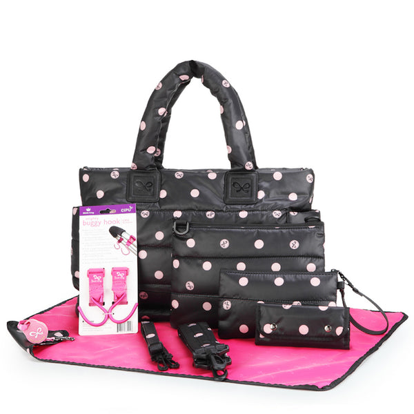 Tote Baby Diaper Bag - Black with Pink Polka Dot L