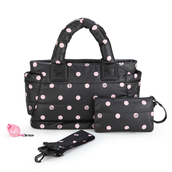 Tote Baby Diaper Bag - Black with Pink Polka Dot M
