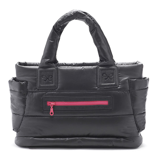Tote Baby Diaper Bag - Black with Pink Lining M