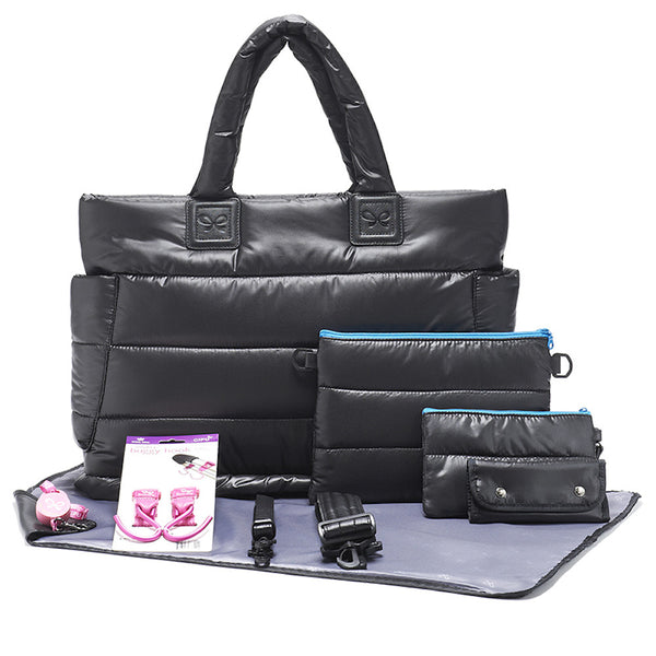 Tote Baby Diaper Bag - Black with Blue Lining L