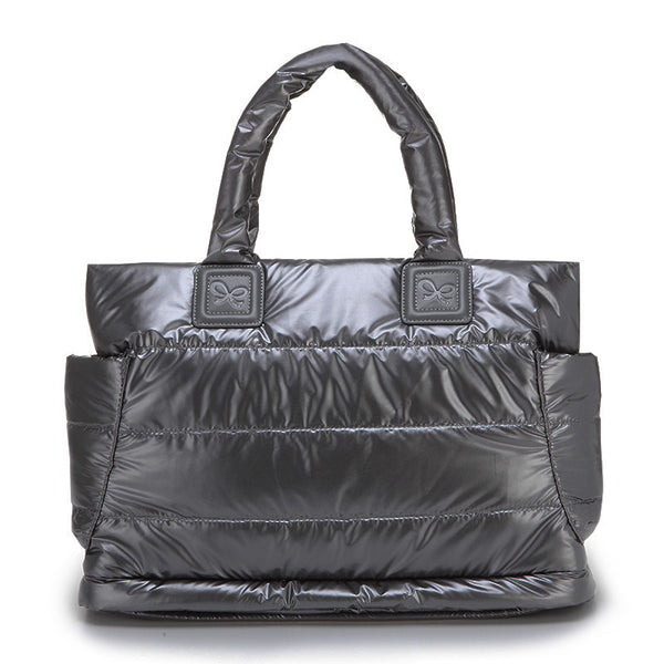 Tote Baby Diaper Bag - Metallic Gray L