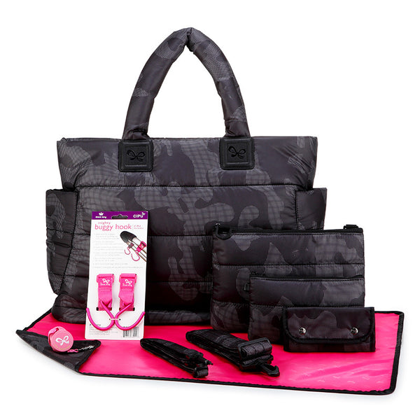 Tote Baby Diaper Bag - Black Camouflage XL