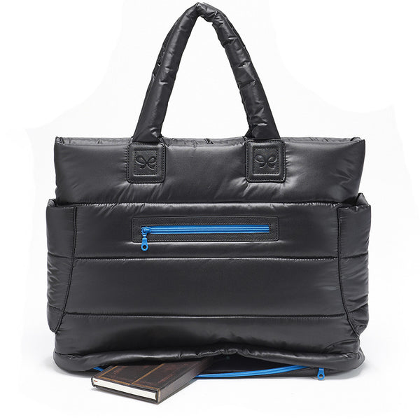 Tote Baby Diaper Bag - Black with Blue Lining XL
