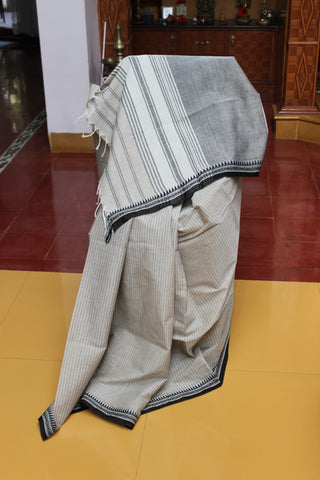 Sensible Summer Sarees - Beige Striped with Black temple border