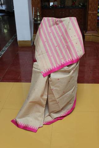 Sensible Summer Sarees - Beige and Pink Temple