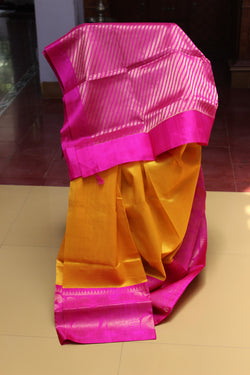 Silk Cotton Arani - Turmeric/Rani Traditional