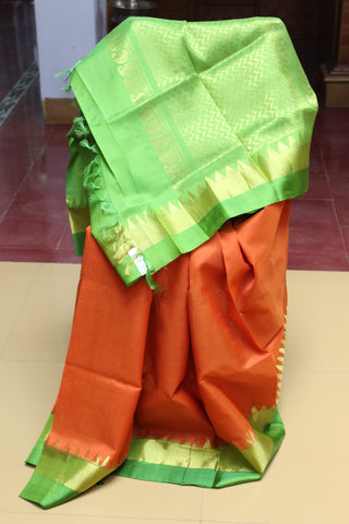 Silk Cotton Arani - Fanta and Green